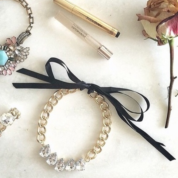 Jewelry - Cute crystal necklace with black ribbon